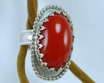 Sterling Silver Red Jasper Ladies Ring, Fancy & Ornate Ring, Hand cut Cabochon, Artisan Silver smith and Lapidary, Vivid Red/ Orange Stone