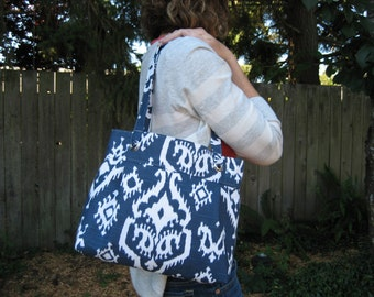 Modern Grommet Pleated Tote Bag or Purse--Navy Blue and White Ikat Printed Fabric