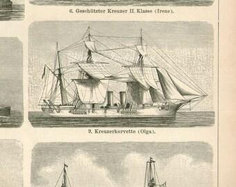 Antique Print, SAILING SHIPS, chart 1904 beautiful wall art vintage b/w lithograph illustration boats ship nautical sails