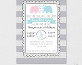 Twins Invitation, Twins Baby Shower, Elephant Baby Shower, Twin Baby Shower, Twin Invitation, Twin Gender Reveal, Twins Gender, Printable