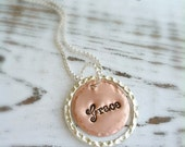 Stamped GRACE Necklace . Grace Necklace . Faith Necklace . Personalized . Faith Jewelry . Love Jewelry . Copper