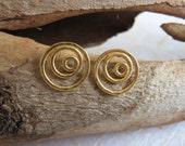14k Solid gold stud earrings , Gold spiral post earrings , 14k Gold swirl studs , Handmade by Adi Yesod