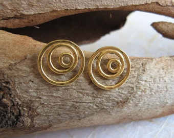 14k Solid gold stud earrings , Gold spiral post earrings , 14k Gold swirl studs , Handmade by Adi Yesod