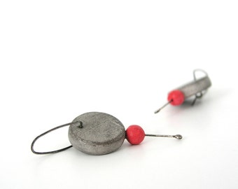 Grey and red clay hoop earrings, minimalist, air dry clay, neon, faux cement concrete, texture, modern, sterling silver, industrial earrings