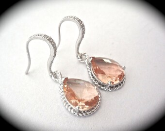 Bridal jewelry - Champagne earrings - Sterling silver posts - Wedding jewelry - Bridesmaids - Super sharp - Peach earrings ~ Gifts -