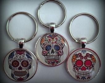 Sugar Skull Keychain Dia de los Muertos Day of the Dead Halloween