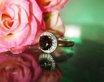 Black gemstone ring, Smokey Quartz Ring, Black Gemstone Sterling Ring, Sterling Silver, Silver Gemstone Ring