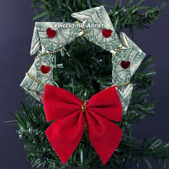 Dollar Bill Origami Christmas Tree: Items Similar To Money Origami Wreath