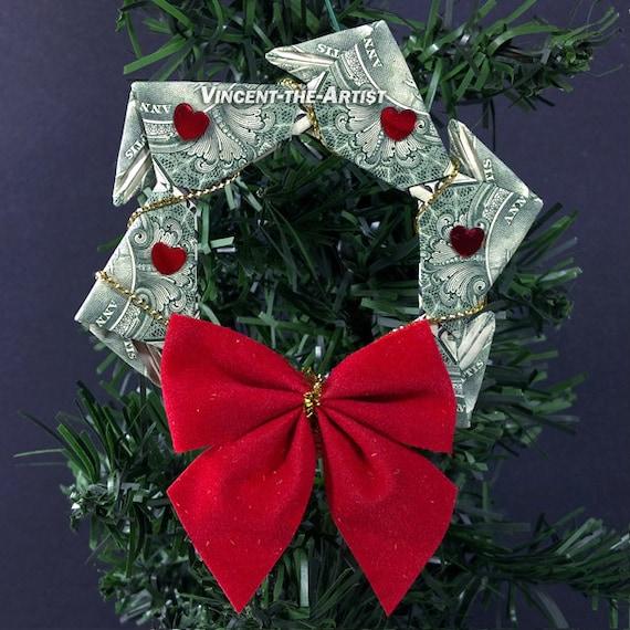 items similar to money origami wreath beautiful