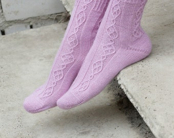 Hand Knit women Socks merino wool lilac