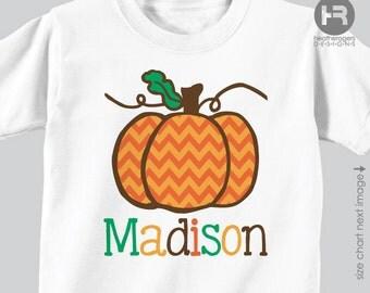 Chevron Pumpkin Shirt / Halloween Shirt - Personalized Pumpkin Patch Shirt or Bodysuit - Pumpkin Fall Party Shirt