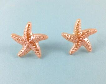 Peach Starfish Earrings, Starfish Earrings, Nautical Earrings, Starfish Jewelry, Beach Wedding, Nautical Jewelry, Bridal, Wedding