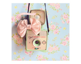 Girl Scout Cam, Photograph ,Digital Download, Instant download, Printable, gift tags, vintage collage, card making, scrapbooking idea