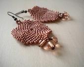 Beige pink earrings, seed beaded honeysuckle jewelry, large flat round peyote beaded earrings