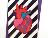 Anatomical Heart Valentine's Day Anniversary Stripes Love Greeting Card