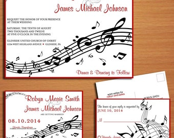 Music Staff Wedding Collection / Invitation / RSVP / Save the Date Postcard PRINTABLE / DIY