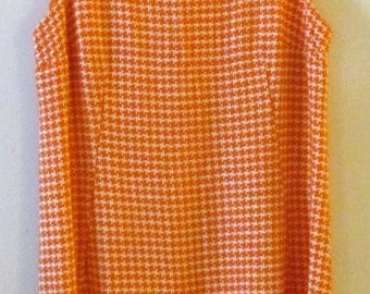 60s Houndstooth Shift Dress S M 36 Bust