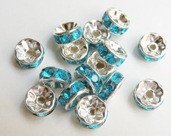 20 Aquamarine Blue rhinestone rondelle spacer beads 8mm DB19828