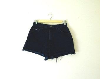 Vintage Dark Blue Denim Cutoff Shorts