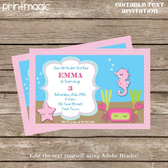 under the sea pink invitation editable text by printmagic