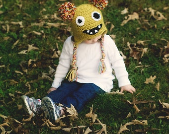 Zombie Monster Beanie- photography prop- dress up, kid zombie costume, monster costume, monster hat- monster beanie- zombie beanie