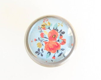 Chintz Shabby Chic Cottage Chic English Rose Glass Knob Cabinet Drawer Dresser Nursery Metal