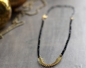 Black Spinel Necklace - Black and Gold, Mixed Metal, Modern Gemstone Jewelry