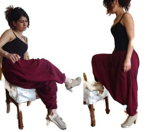 Women's Upcycled Boho Burgundy  Ninja Harem Pant - Double  Pocket - Recycled, Repurposed, EcoFriendly