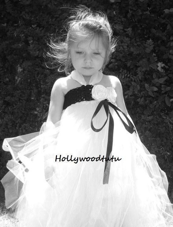 black and white flower girl tutu dress