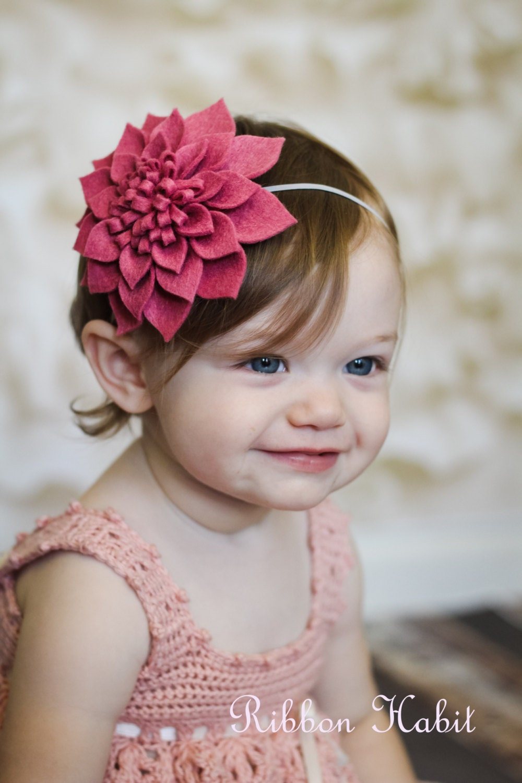 Big Felt Flower Headband For Girls In Pink Rose By Ribbonhabit