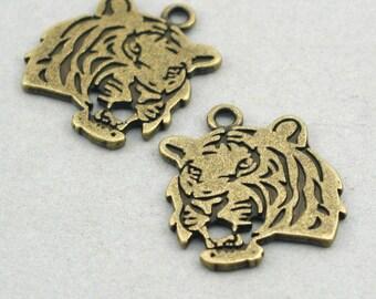 Tiger Head Charms Pendant Antique Bronze 2pcs base metal beads 24X27mm CM0350B