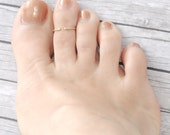 14k solid gold toe ring / above the knuckle ring - adjustable