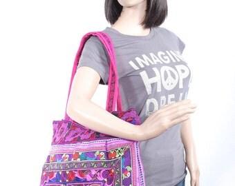 Handbag Magenta Bird TOTE Bag Garden Hill Tribe Thailand Fair Trade Handmade (BG121F-PIB)