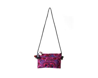 Handmade purple Purse Cross-Over Bag Handmade by HMONG Thai Hill Tribe Fair Trade (BG811-PIB)