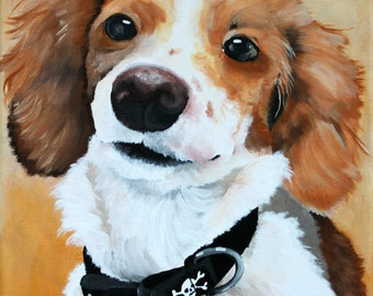 Dog portrait painted from your photo on a 8x12 canvas, pet painting