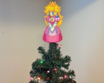 Super Mario Bros. Princess Peach Perler Bead Christmas Tree Topper