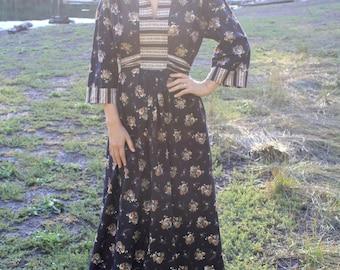 Folklore Love - Vintage Boho Peasant Floral Maxi Dress, Midnight Black, Medium / Large