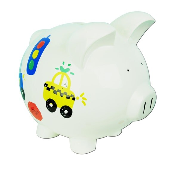 Hand painted personalized ceramic transportation piggy bank - Ceramic piggy banks for boys ...