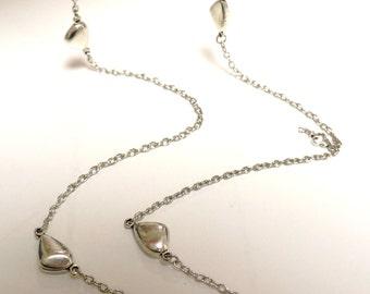 Long Layering Silver Pebble Necklace .......Made in Canada
