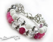 Pink frosted agate bracelet, pink bracelet, bead bracelet, gemstone jewelry, birthstone bracelet, fuchsia bracelet, pink white bracelet,gift