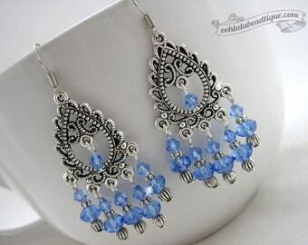 Blue chandelier earrings, crystal earrings, birthstone jewelry, boho earrings, gypsy dangles, long earrings, hippie earrings, blue crystal