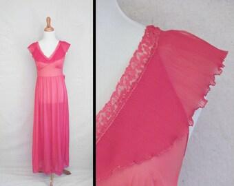 Red SLIP Dress 50s Flutter Sleeves Nightie Small Blood Red Vermillion