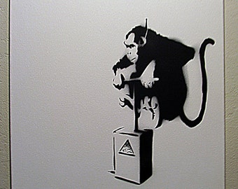 hand spray painted banksy monkey detonator bomb spray paint stencil. Black Bedroom Furniture Sets. Home Design Ideas