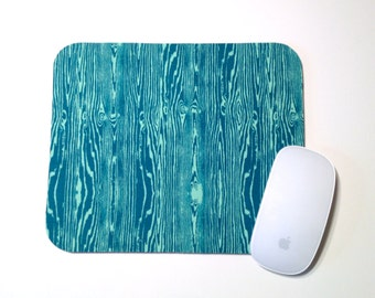 Mouse Pad / Faux Wood Grain Teal / Home Office Decor / Mousepad / Slightly Smitten Kitten
