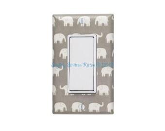 Gray Elephant Nursery Decor / Rocker Light Switch & Plate / Tiny Small Elephants