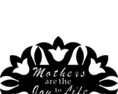 3' Tall Steel Yard Stake Mother's are the Joy to Life in Tulip Quilt Block