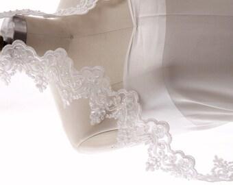 Bridal veil- Mantilla veil- wedding veil-chapel veil- beaded lace veil-beaded veil- style 150