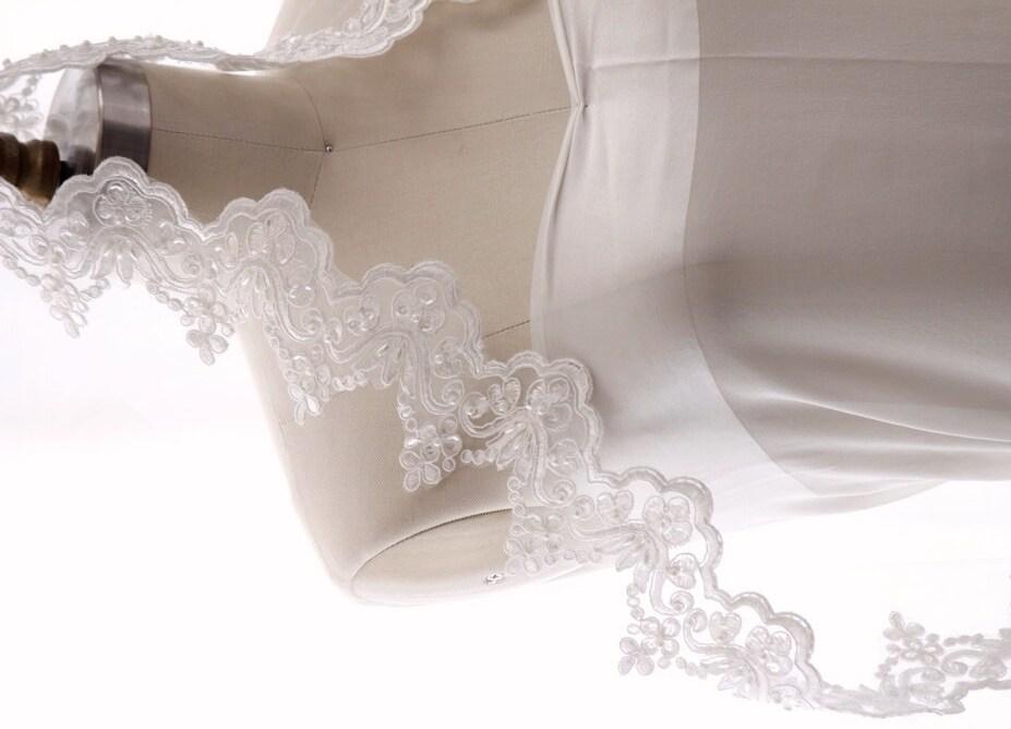 Bridal veil Mantilla veil wedding veil-chapel veil beaded