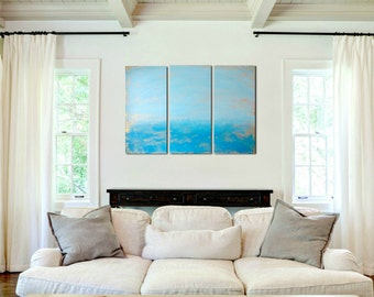 Large Wall Art painting | Triptych Blue Art | Peaceful Ocean art on 3 piece wall art Custom Made | Ocean Painting | Original