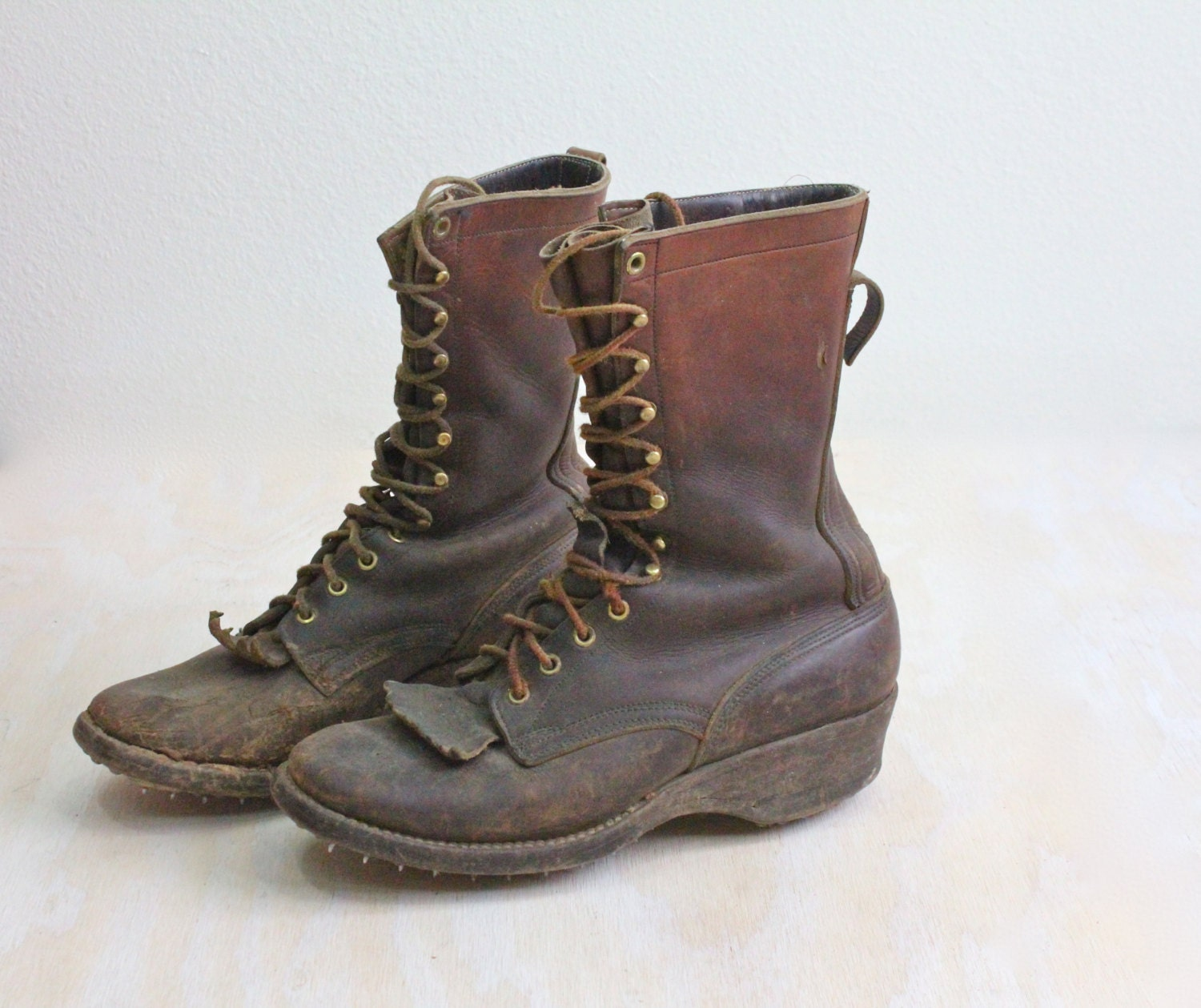 vintage s logging caulk spiked boots by